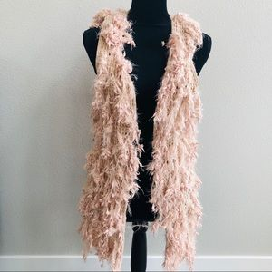 Dreamers pink vest fuzzy sweater Open front